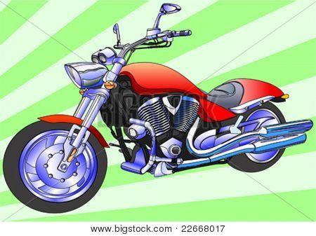 Vector drawing men to big motorcycle