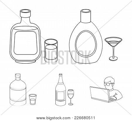 Liquor Chocolate, Champagne, Absinthe, Herbal Liqueur.alcohol Set Collection Icons In Outline Style