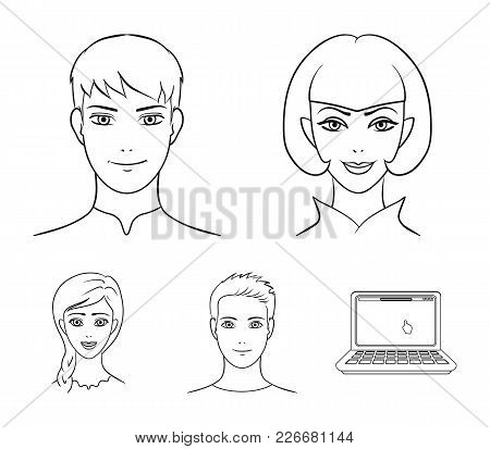 Different Looks Of Young People.avatar And Face Set Collection Icons In Outline Style Vector Symbol