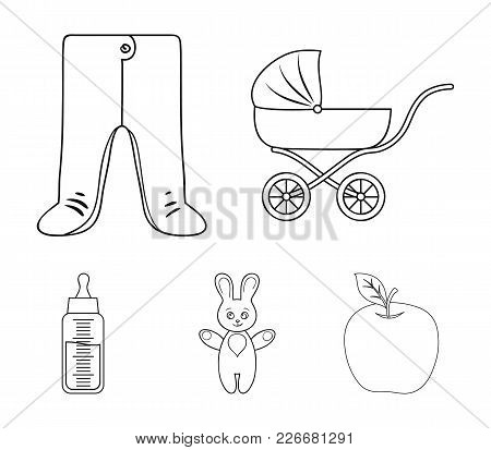 Stroller, Bottle With A Pacifier, Toy, Sliders.baby Born Set Collection Icons In Outline Style Vecto
