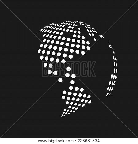 White dotted 3d earth world map vector photo bigstock white dotted 3d earth world map globe in black background vector illustration gumiabroncs Images