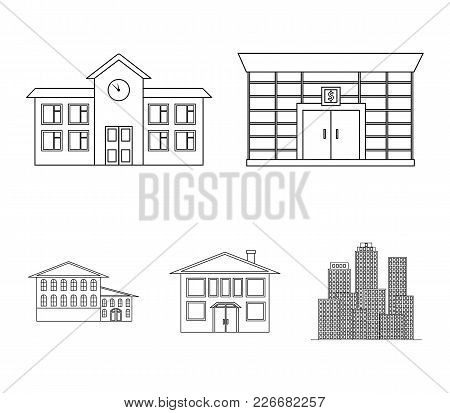 Residential Building, Bank, School, Hotel.building Set Collection Icons In Outline Style Vector Symb
