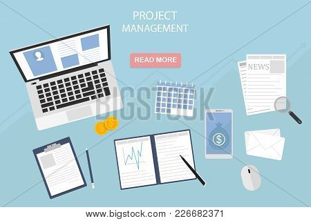 Flat Design Of Modern Vector Illustration Of Project Management Concept - Eps10, Own Business And Fi