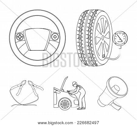 Engine Adjustment, Steering Wheel, Clamp And Wheel Outline Icons In Set Collection For Design.car Ma