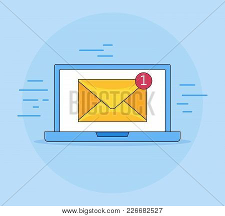 Laptop With Envelope, Vector Illustration, E-mail Symbol, Service, Notification, Email, New Message,