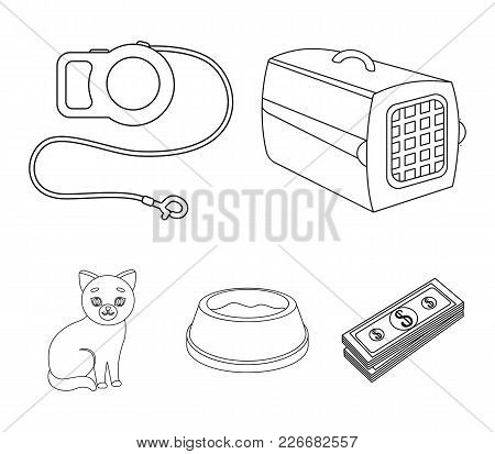 A Container For An Animal, A Roulette Leash, A Bowl Of Food, A Kitten.cat Set Collection Icons In Ou