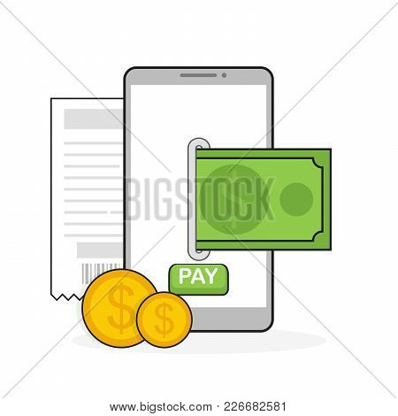 Mobile Payment Flat Design Style Vector Illustration, Smartphone On The Screen Shows The Dolars.