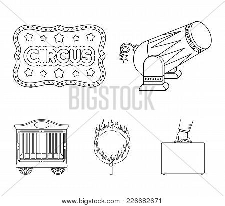 Circus Trailer, Circus Gun, Burning Hoop, Signboard.circus Set Collection Icons In Outline Style Vec