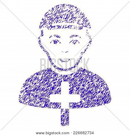 Grunge Christian Monk Rubber Seal Stamp Watermark. Icon Symbol With Grunge Design And Scratched Text