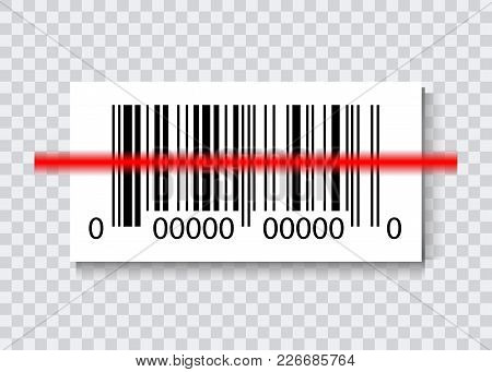 Sample Bar Codes For Scanning Icon With Red Laser, Vector Illustration Isolated
