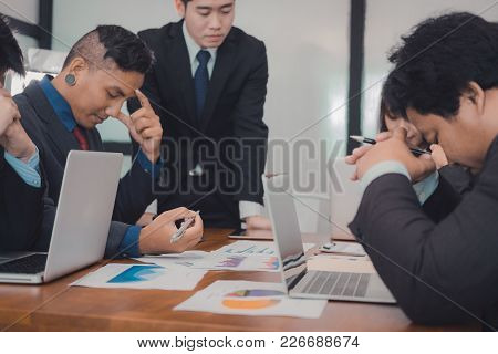 Furious Boss Scolding Frustrated Woman At Office. Irritated Man Blames Upset Intern For Failure At W