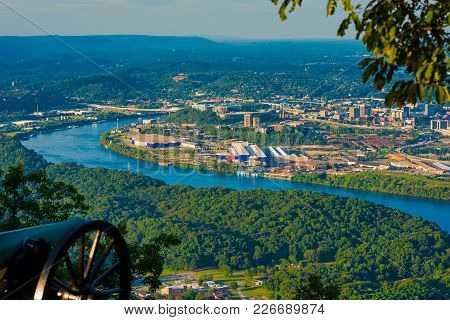 Civil War Cannon On Lookout Mountain Aiming Toward Chattanooga, Tennessee