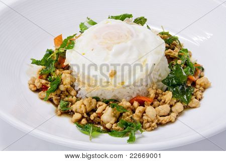 Chicken Sauteed With Garlic And Hot Basil