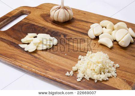 Garlic On A Wood Cutting Board