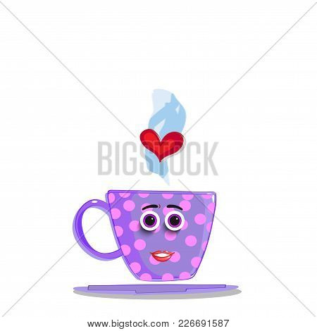 Cute Violet Cartoon Cup With Pink Polka Dots Pattern, Smilling Face, Rose Lips, Eyes And Red Heart I