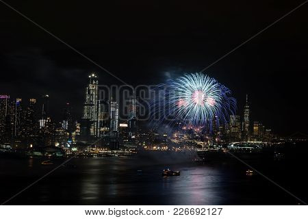 Fireworks On Hudson  River, New York City