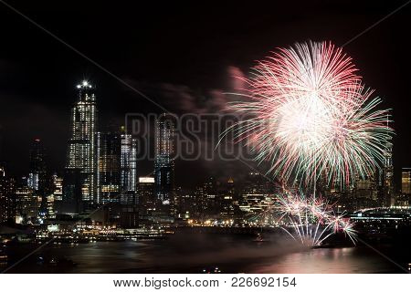 New York, Feb. 1 4. 2018 -- Spectacular Fireworks Light Up The Night Sky Over The Hudson River In Ne
