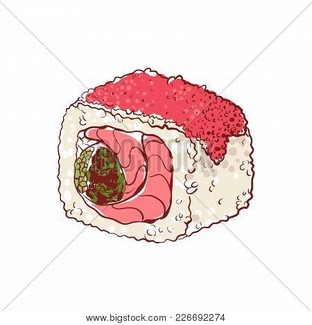 Sushi Roll With Caviar And Fish Icon Isolated On White Background. Japanese Cuisine Dish Label, Asia