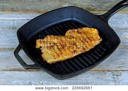 Grilled Beef Steak With On Frying Pan Sirloin Steak Frying In A Skillet Pan