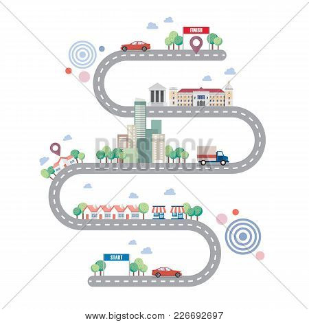 City Road Infographic Template. Vector Illustration Graphic Design