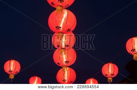 Paper Chinese Lanterns On The New Year Eve