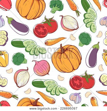 Fresh Vegetables On White Background. Seamless Pattern With Carrot, Pumpkin, Cucumber, Onion, Pepper