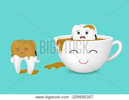Tooth Character And Cup Of Coffee. Coffee Makes Your Teeth Yellow. Dental Care Concept, Funny  Illus