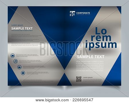 Brochure Template Geometric Triangle Blue Color With Image Background And Simple Text. Business Book