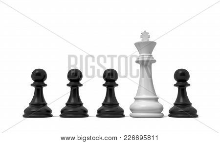 3d Rendering Of A Row Of Black Pawn Pieces With A Single White King Figure Sticking Out From Among T