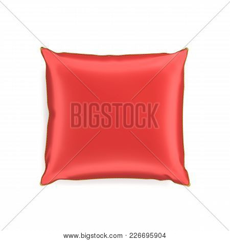 3d Rendering Of A Red Silk Decorative Pillow With Golden Tussels In Top View On A White Background.