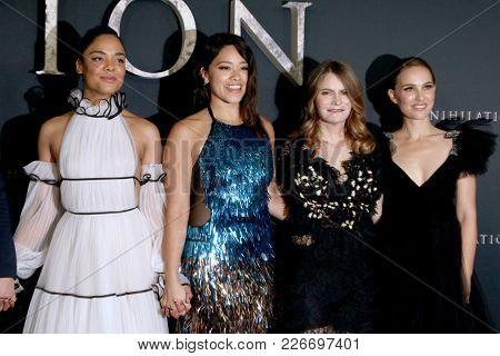 LOS ANGELES - FEB 13:  Tessa Thompson, Gina Rodriguez, Jennifer Jason Leigh, Natalie Portman at the