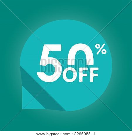 50% Off. Sale And Discount Tag With 50 Percent Price Off Icon. Vector Illustration.