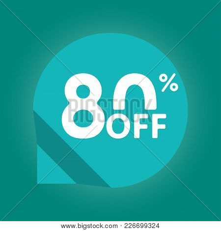 80% Off. Sale And Discount Tag With 80 Percent Price Off Icon. Vector Illustration.