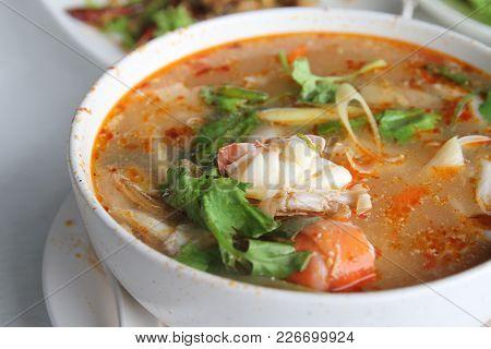 Tom Yum Koong The Favorite Thai Food Or Prawn Spicy Soup