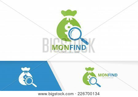 Vector Bag And Loupe Logo Combination. Sack And Magnifying Symbol Or Icon. Unique Money And Search L