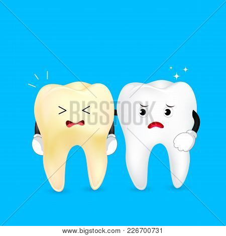 White And Yellow Tooth Characters. Dental Care Concept. Illustration On Blue Background.