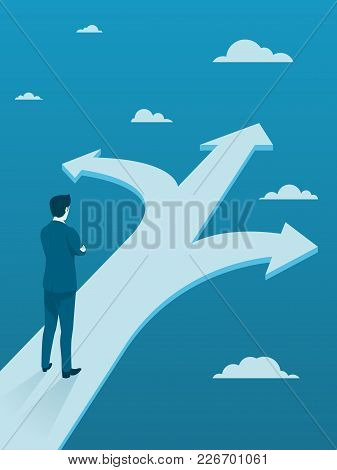 Businessman Making Decision On Three Different Ways, Flat Vector Business Concept.