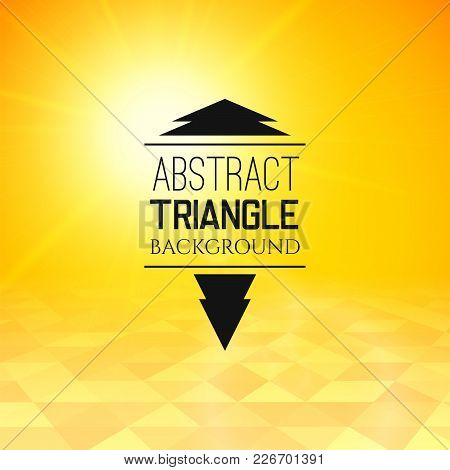 Abstract Yellow Sunset With Triangle Field, Perspetive Pattern In Sunny Fog, Geometrical Vibrant Mul