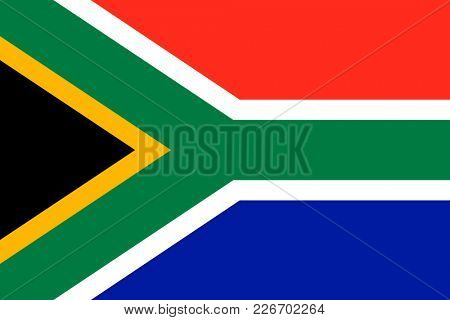 Flag of South Africa. Symbol of Independence Day, souvenir sport game, button language, icon.