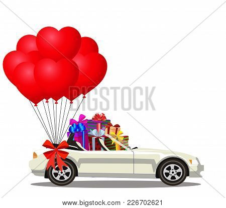 White Modern Opened Cartoon Cabriolet Car Full Of Gift Boxes And Bunch Of Red Helium Heart Shaped Ba