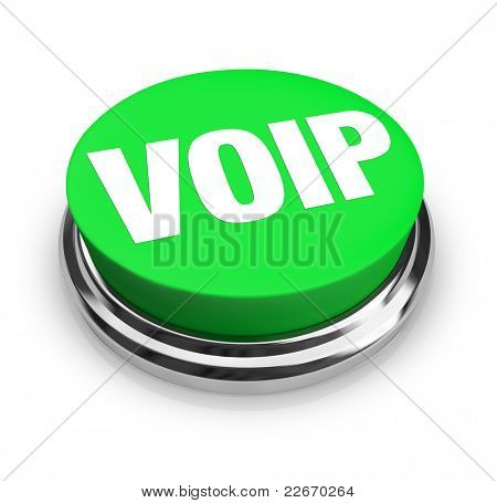 A green button with the word VOIP on it, standing for voice over internet protocol, a technology that allows you to make phone calls over the internet for little cost, saving money on communication
