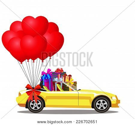 Yellow Modern Opened Cartoon Cabriolet Car Full Of Gift Boxes And Bunch Of Red Helium Heart Shaped B