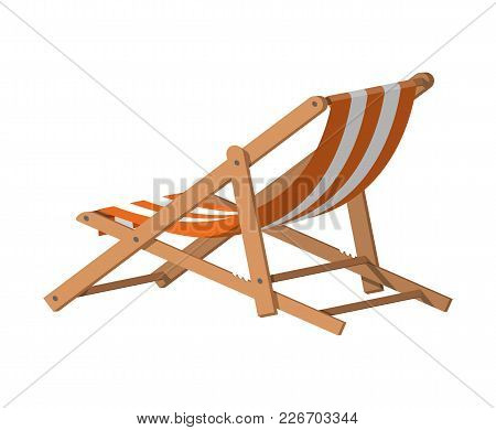 Wooden Chaise Lounge. Sun Lounger, Deckchair, Sunbed, Beach Chair. Vector Illustration In Flat Style