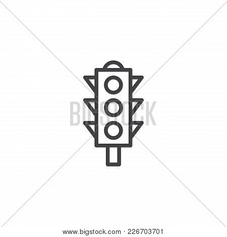 Traffic Light Outline Icon. Linear Style Sign For Mobile Concept And Web Design. Semaphore Simple Li