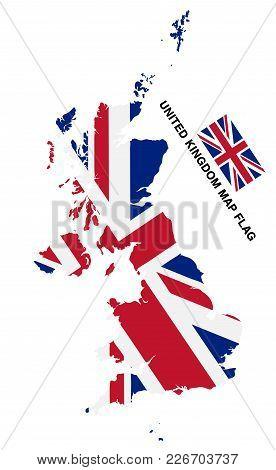 United Kingdom Flag Map On White Background