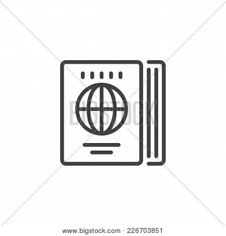 Travel Guide Outline Icon. Linear Style Sign For Mobile Concept And Web Design. World Map Book Simpl