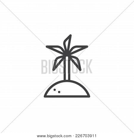Coconut Palm Tree Outline Icon. Linear Style Sign For Mobile Concept And Web Design. Island Travel S