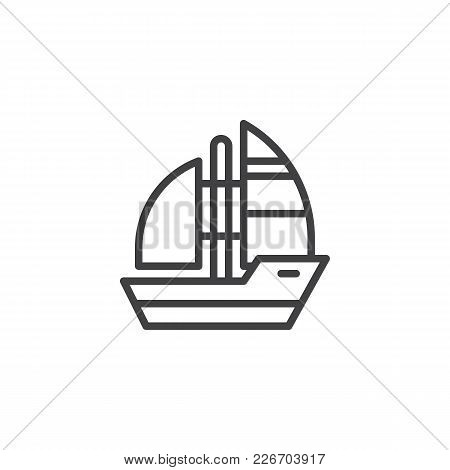 Yacht Boat Outline Icon. Linear Style Sign For Mobile Concept And Web Design. Sea Cruise Simple Line