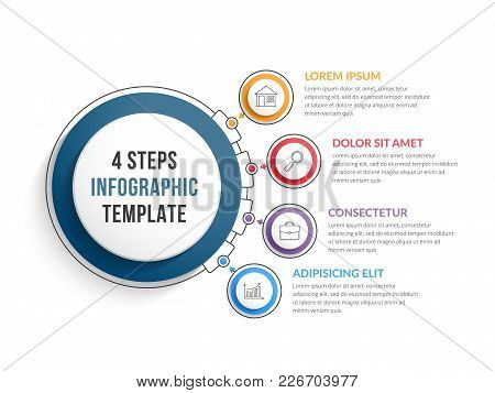 Infographic Template With Four Steps Or Options, Workflow, Process Diagram, Vector Eps10 Illustratio