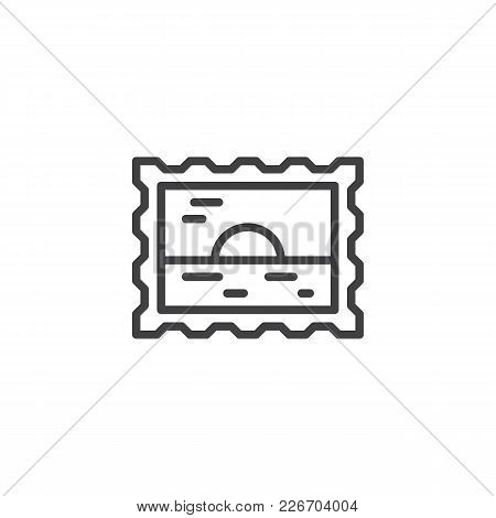 Travel Passport Stamp Outline Icon. Linear Style Sign For Mobile Concept And Web Design. Picture Sim
